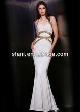 2013 best seller sheath beaded white evening gowns
