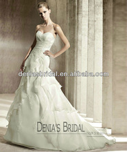 2012 Hot Sale Ball gown Sweetheart Lace Bodice Sleeveless Ruffled Organza with Appliqued Floor Length Wedding Dress