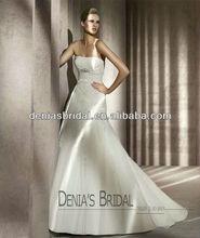 2012 PETALO Hot Sale A Line Strapless Lace Covered on Taffeta Sleeveless Floor Length Wedding Dresses