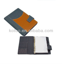 A6 PU leather agenda notebooks/diary cover with ring binder