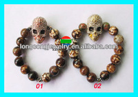 pave beads stretch crystal skull bracelet wholesale LK1197