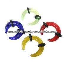 Crescent shaped custom ear plug gauge UV unique body jewelry