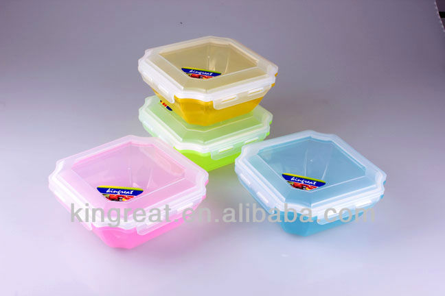 colorful octagon plastic food container/lunch box with lock 418007