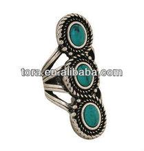 fashion Bohemia's antique silver turquoise ring
