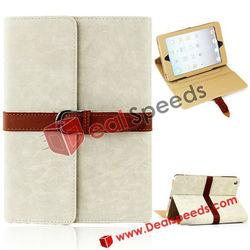 For iPad Mini PU Case/2013 New High Quality Exquisite Belt Fastener Design Leather PU Case for iPad Mini