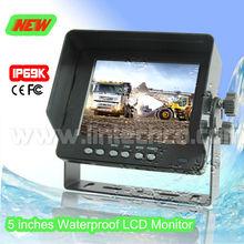 Sunshade IP69K Aluminous Housing U Bracket 5 inch Waterproof Monitor