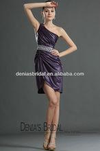 2012 Hot Sale Sheth Grape One Shoulder Pleated Bodice Crystal Embelished Waistline Short Skirt Taffeta Prom Dresses