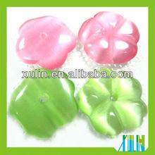 wholesale charm shiny flat back wintersweet glass cat's eye beads
