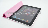Romantic pink color leather mobile case for ipad 3
