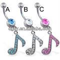 fantasía ombligo anillo con colgando jeweled música nota para la venta
