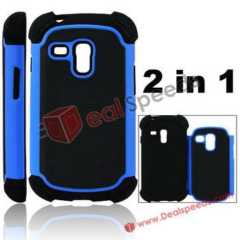 2 in 1 TPU and Silicone Cover Case for Galaxy S3 Mini i8190(Blue+Dark)