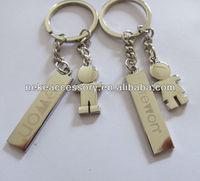custom boy and girl charm metal keychain