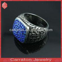 Newest Design Dark Blue Zircon Rings/Stainless Steel Rings
