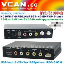 Portable dvb-t lcd tv box DVB-T2100HD-35 Car DVB-T box MPEG4 H.264 two tuners, PVR USB Record function