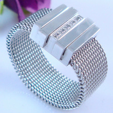 2013 Fashion Ring Steel Mesh Ring Jewelry CNC Diamond Place Setting 316L Surgical Stainless Steel Ring (HBNR00826)