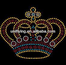 heat transfer beautiful crown rhinestone transfers hot sales 2013