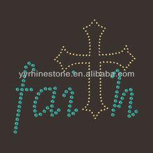 Faith Cross Wholesale Rhinestone Transfers Design