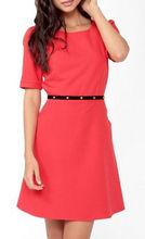 beautiful red dress office wear with pu belt waist ,2013 summer latest casual dress designs