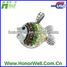 Lover crystal Fish usb flash drive shoot customized logo or use