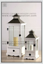 White bungalow home decorative wooden hurricane candle lantern with metal top