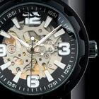 Brand Men's Black Luxury Stainless Steel Skeleton Semi-Automatic Leather Mechanical Watch WM221-ESS