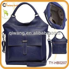 Multi-color leather fashion handbag with front pocket
