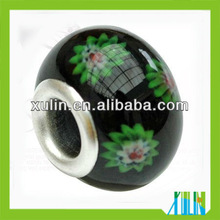 wholesale mixed color sterling silver big single hole murano beads