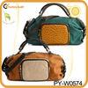 lady designer leather satchel with front ostrich pocket