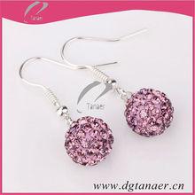 Pink Crystal Shamballa Dangle Earrings Clay Disco Balls