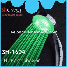 Cor verde iluminado poder de água iluminação dynamo led cabeça de chuveiro