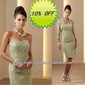 venda quente curto vestido sem alças de cetim boa qualidade do laço vestido de mãe de noiva