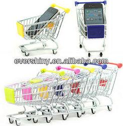 Cute Mini Shopping Cart Desk Accessory for Pen Card Cell Phone Holder for desk