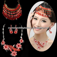 Free Shipping hot sale red head chain Wedding Bridal Jewelry Sets Gift Set Tear Drop Necklace earrings Jewelery Sets CWFan5130