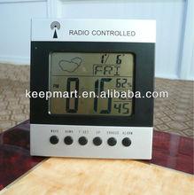 Fashionable desktop weather report/station green/blue color LED backlight calendar temperature alarm clock for promot