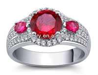 China factory price of Big stone Wedding Ring of 925 silver women ring with ruby color zirconia