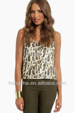 Los modelos 2013 tela de leopardo blusas superior para las mujeres hsb-021