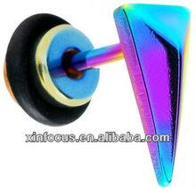 16 Gauge Rainbow Titanium Triangle Cheater Plug fake ear plug body jewelry