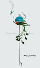Glass Ball Peacock Solar Stake Light for Garden