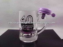 customized promotion 400ml beer glass with bell