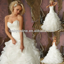Hottest sell Sweetheart Neck Tiered skirt Ball gown Mermaid Wedding dress WD1335