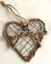decorative rattan wood heart natural