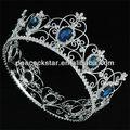 Atacado full pageant tiara círculo simulado azul safira rei/coroa de rainha ct1720