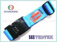 Blue 3 number digital lock luggage belt,lock luggage strap