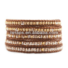 Golden Shadow and Indian Bead Wrap Bracelet on Natural Brown Leather