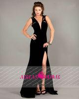 AE13315 sexy open back front split black chiffon 2015 new model vestidos longo de festa