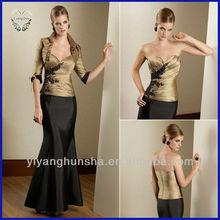 Bronze & Black Trumpet/Mermaid Sweet Heart Taffeta Tea-length Mother Of Bride/Groom Dresses