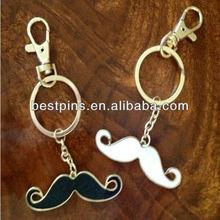 2013 hot sell custom metal mustache keychain/keyring