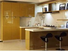 Custom designed yellow lacquer finishing kitchen furniture