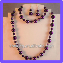 Purple Round Beaded Faux Pearl Jewelry Sets With 925 Silver Accessory