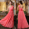 Womens Chiffon Shoulder Bridesmaid Wedding Long Cocktail Party Evening Dresses